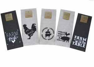 "Set of 5 cute and funny farm kitchen dish towels that come in an organza bag so they're ready for giving! Includes 5 different towels with farm animals and phrases like: ""Wakey Wakey Eggs & Bakey"", ""Farm Fresh"", ""Cockadoodledoo"" and more. Great little gift set - can be used as farm themed kitchen towels, hand towels or as a decorative kitchen towel set. Great hostess gifts, bridal shower gifts, teacher gifts or birthday gifts! Machine Washable."