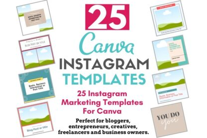 Take the stress out of creating posts from scratch for your Instagram feed. Instagram Template Bundle For Canva is a collection of 25 Canva templates designed for content creators, entrepreneurs and business owners. These done-for-you templates are designed to help you increase engagement and show up as an expert in your industry.