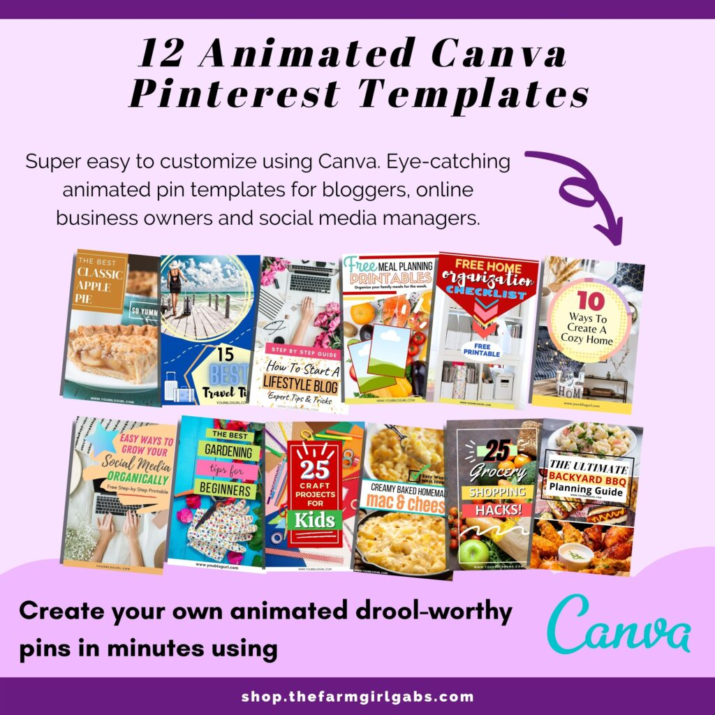 Pinterest LOVES animated pins. Create your own animated pins easily with this Animated Pinterest Pin Bundle. Easily swap out graphics and font using Canva and create your own customized animated pins in minutes.