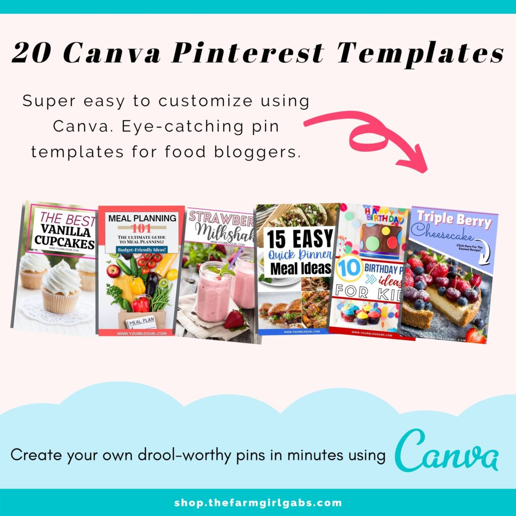 These Pinterest templates are easy to use and completely customizable in Canva. Easily change photos, colors and fonts. These templates are 2:3 Ratio (1000 x 1500). Easily create pins in minutes with these easy to use Canva templates. Canva is a free online design software.