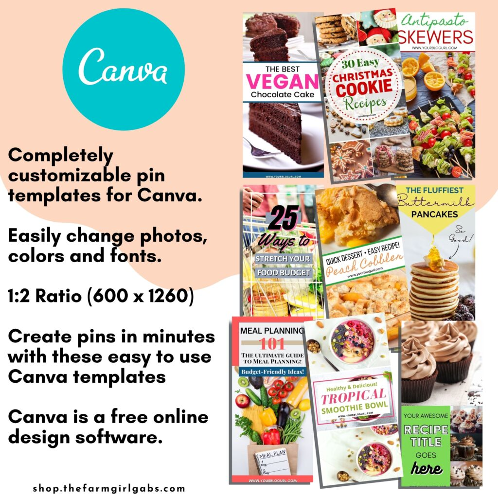 Create eye-catching pins for your food blog content and recipes. These Pinterest templates are easy to your and completely customizable in Canva. Easily change photos, colors and fonts. These templates are 1:2 Ratio (600 x 1260). Easily create pins in minutes with these easy to use Canva templates. Canva is a free online design software.