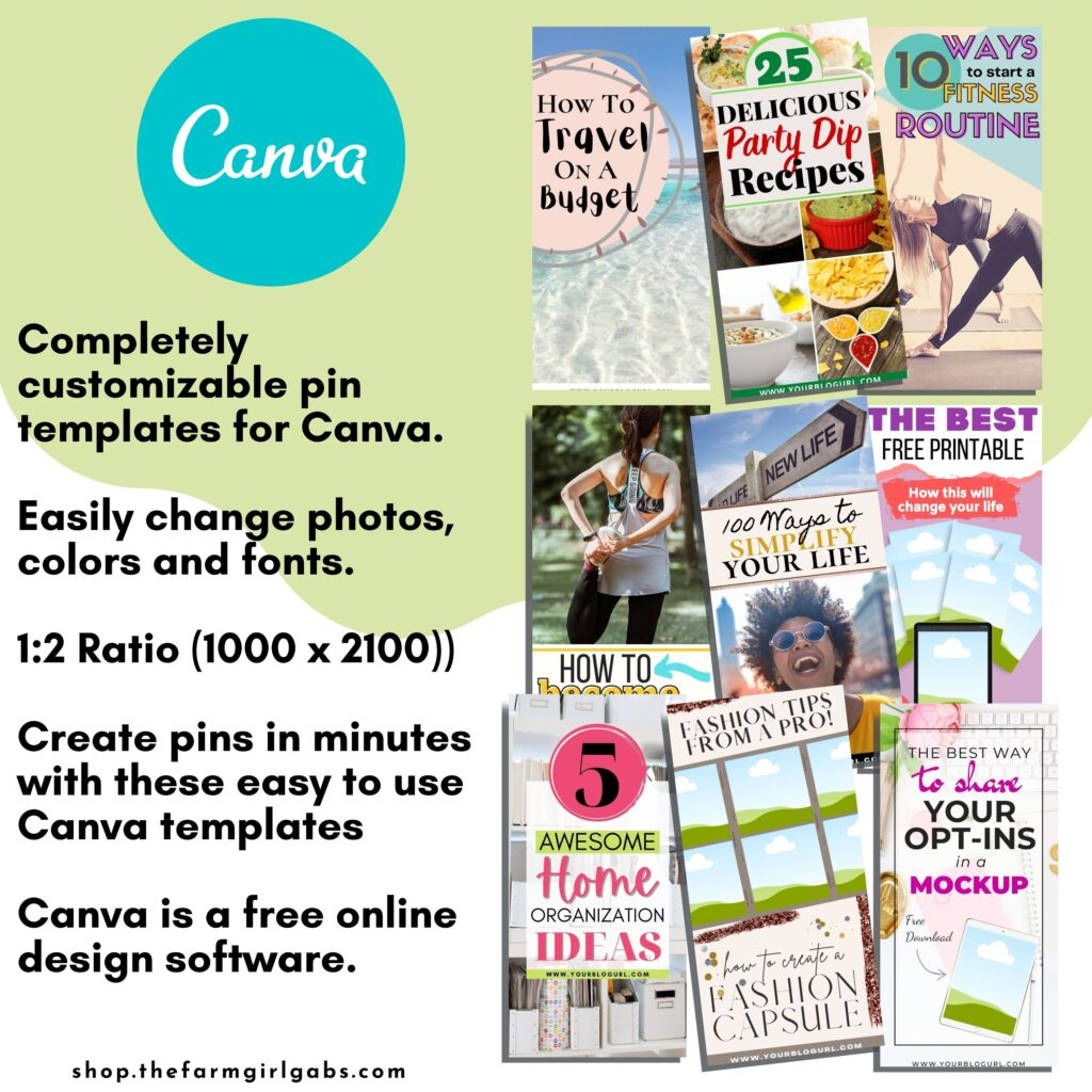 1000 x 2100 LIfestyle Pins for Canva Template