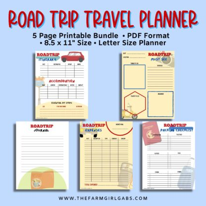 Ready to hit the road on a good old fashioned family vacation? This printable Family Road Trip Planner will help you plan an epic road trip. This 5-page vacation planner includes a budget worksheet, itinerary sheet, things to see and do, a travel journal, and a road trip check list.