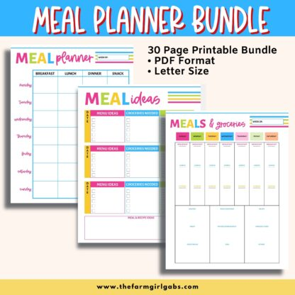 This Printable Meal Planner Bundle will help organize your meals, grocery shopping and cooking needs. This 30-page meal planner will save you time in the kitchen too.