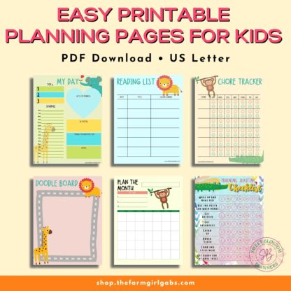 Kids need to plan too. This handy printable kids planner will help them organize their schedule and activities. Great way to keep kids on task, Perfect planner for elementary school kids and homeschoolers too.