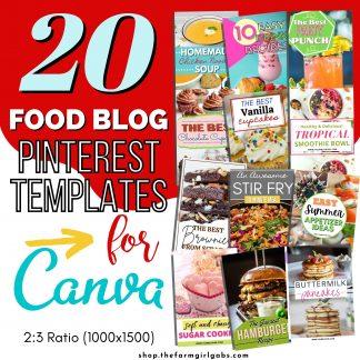 Food blog canva pin templates