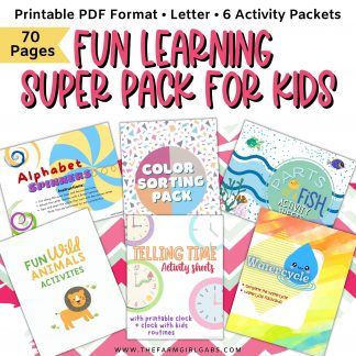 Keep the kids occupied with this fun learning activity super pack. There are six learning packets in all for a total of 60 pages of learning fun. These activity packets are fun learning activities for preschoolers and early elementary kids.