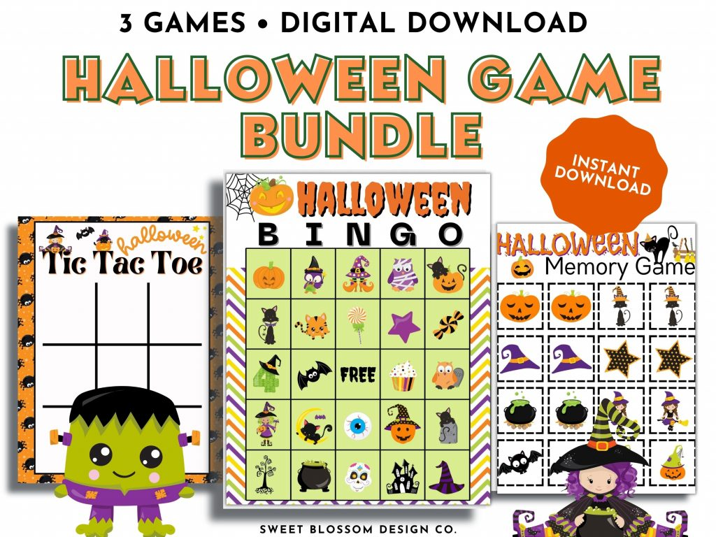 This fun Printable Halloween Game pack will keep the kids entertained for hours. This halloween activity pack includes a 30-card Bingo game, Halloween Matching Game and Halloween Tic Tac Toe.