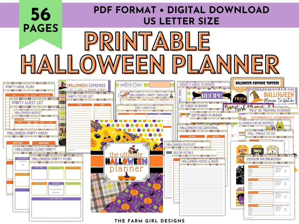 Plan the ultimate Halloween. This printable Halloween planner will keep you organized this fall season. This digital download fall activity planner is filled with planning pages to help you plan the best Halloween and fall for your and your family.