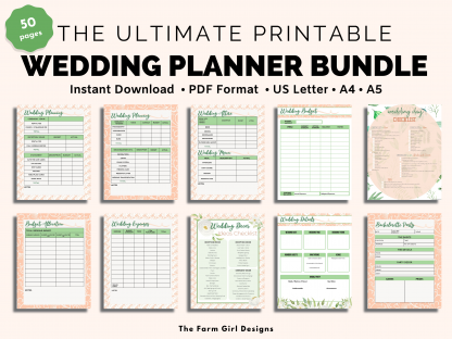 Plan the perfect wedding day. This 50-page printable wedding planner will help you keep track of all the wedding planning details. This ultimate wedding binder holds all of your planning needs for the bride and groom's big day. This instant download planner includes US Letter, A4 & A5 sizes PDF.