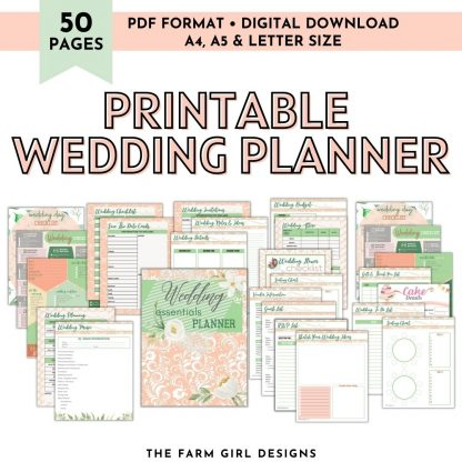 Plan the perfect wedding day. This 50-page printable wedding planner will help you keep track of all the wedding planning details.